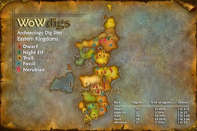 WoWdigs - World of Warcraft Archaeology Locations - Eastern Kingdoms