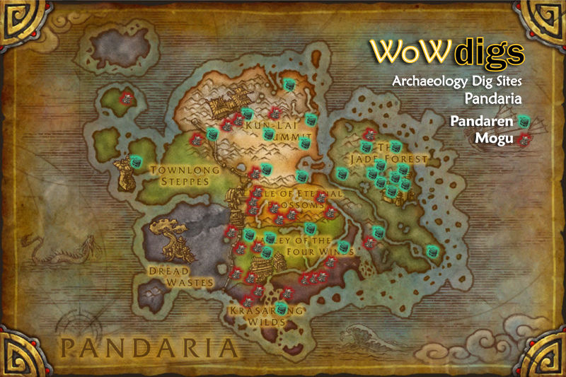 WoWdigs  World of Warcraft Archaeology Locations  Pandaria